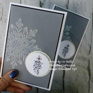 winter wonder snowflake and merry mistletoe christmas card stampin up