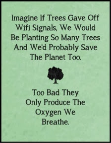 If trees gave off wifi signals we'd plant so many trees. Too bad they only produce oxygen we breathe.