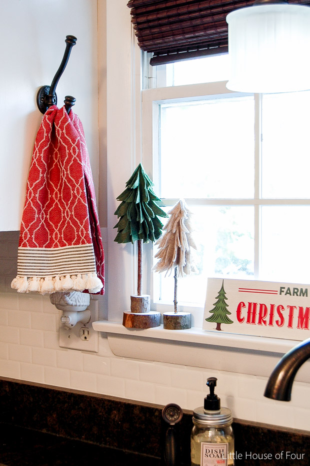 Rustic felt trees in kitchen