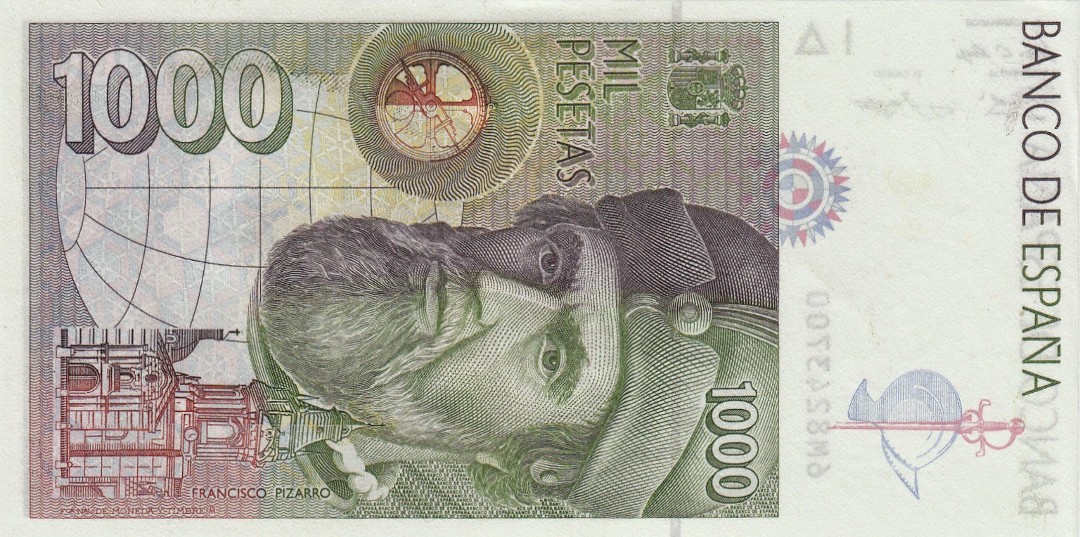 Spain Money Currency 1000 Pesetas banknote 1992 Francisco Pizarro
