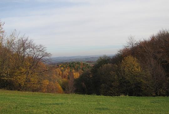 Pogórze Wiśnickie z siodła pod Grodziskiem.