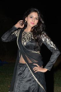 Shalu Chourasiya spotted in a Saree Style Black Lehenga Choli at Premikudu Movie Audio Launch