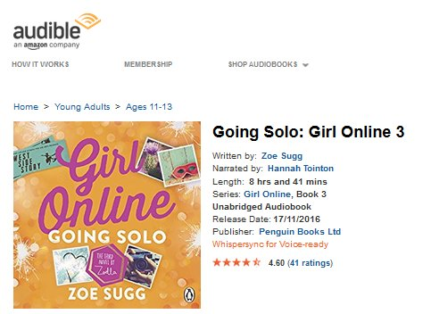 Girl Online Going Solo on Audible