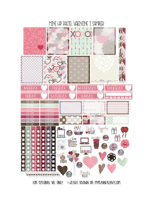 Free Printable Pastel Valentine 2 Sampler for the Mini Happy Planner from myplannerenvy.com