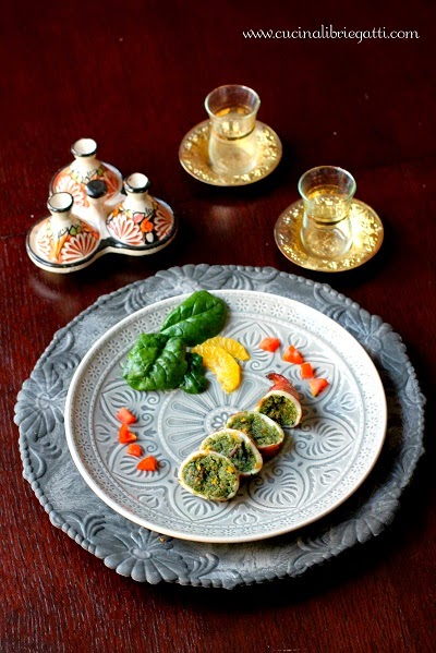 Calamari ripieni di spinaci e arancia