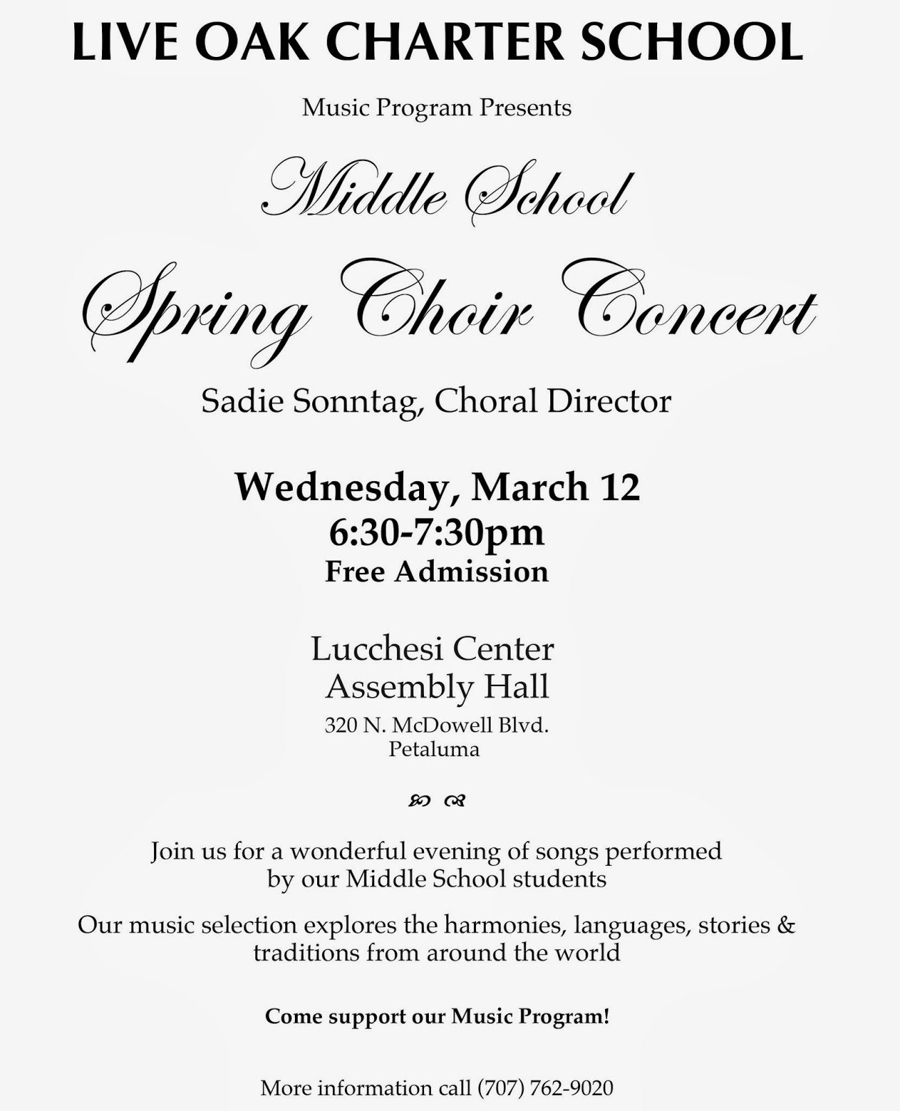 Live Oak Leaflet: Middle School Choir Concert