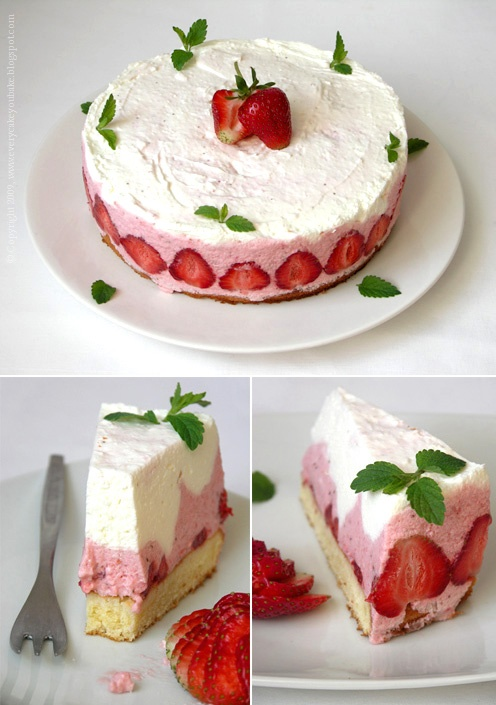 szampański tort truskawkowy