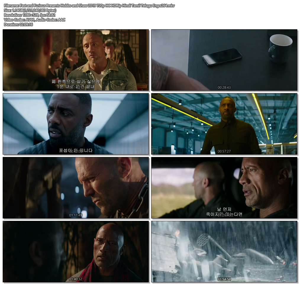 Fast and Furious Presents Hobbs and Shaw 2019 720p HC HDRip Hindi Tamil Telugu Eng | 480p 300MB | 100MB HEVC Screenshot