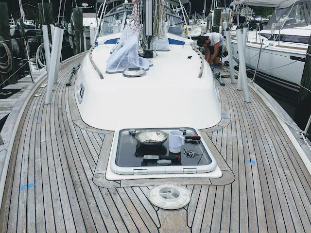 Hallberg Rassy 37, teak deck, caulking, Teak Deck Systems, reefing