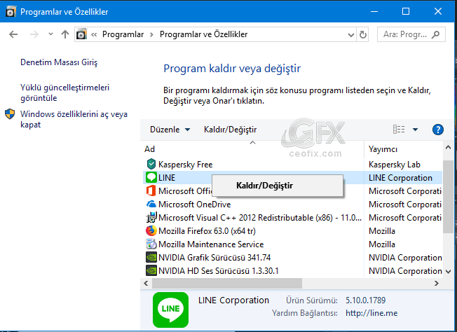 windowsdan program kaldır-www.ceofix.com