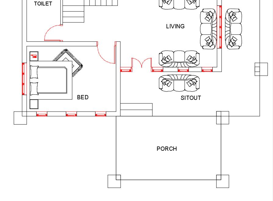 25 Lakh 2 Bedroom 2 Bathroom Free house plan