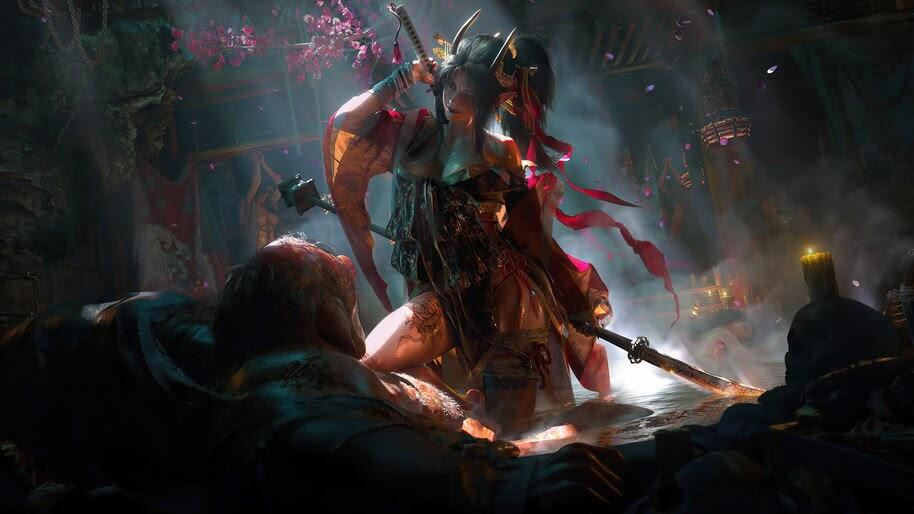 Demon, Samurai, Girl, Katana, 4K, #6.731