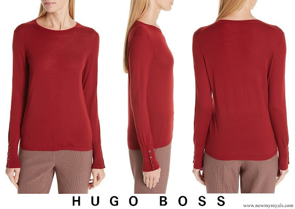 Queen Letizia wore HUGO BOSS Frankie cuff-detail wool sweater