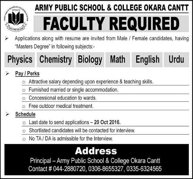 Teaching Jobs in Army Public School & College Okara Jobs
