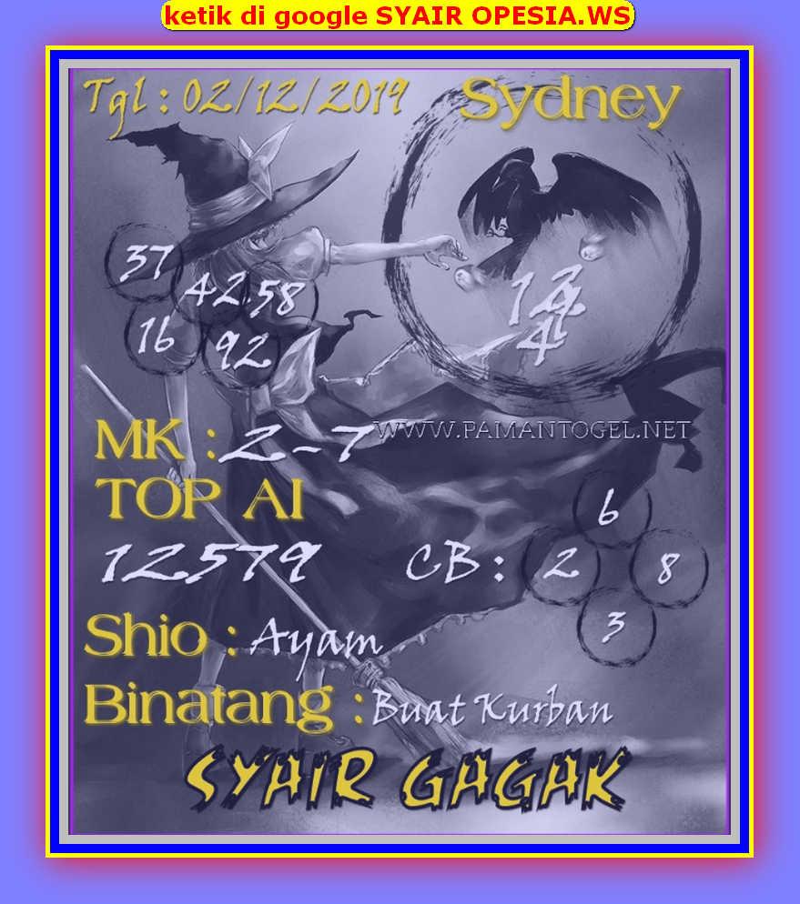 Kode syair Sydney Senin 2 Desember 2019 99