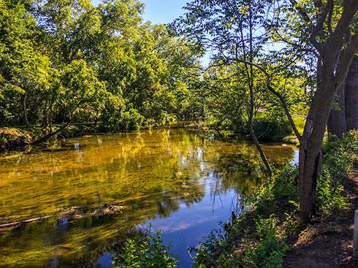 The Bark River on the Veterans Memorial Riverwalk in Delafield WI