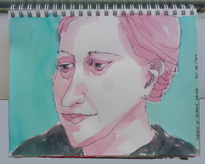 portrait of my sister by verna vogel made with M. Graham gouache and sharpie marker