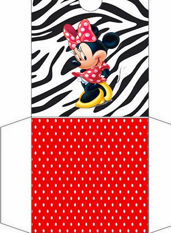 Funda CD´s para Imprimir Gratis de Minnie Cebra y Rojo.