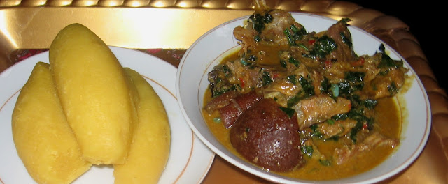Groundnut soup with a side of eba swallow