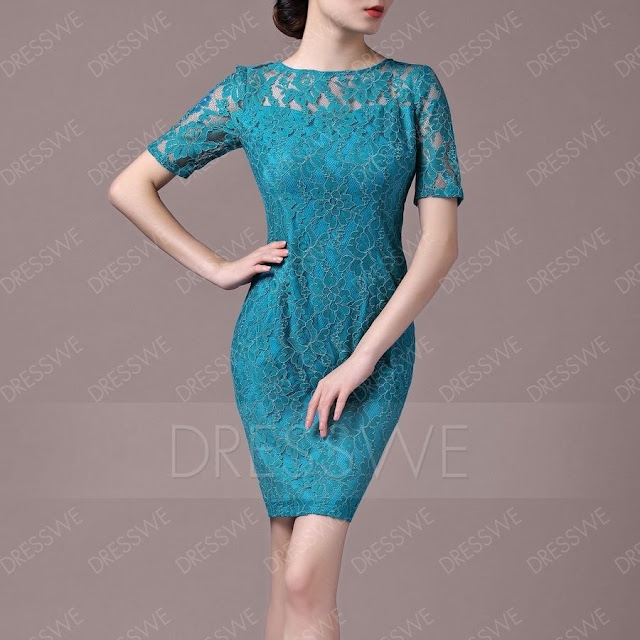 Charming Short Sleeves Lace Sheath/Column Scoop Neck Mother Of The Bride Dress