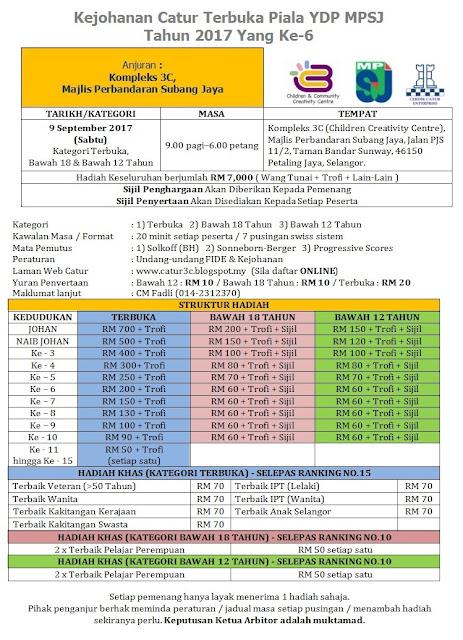 Kejohanan Catur Terbuka Piala YDP MPSJ 2017 Yang ke-6 (9 September 2017)