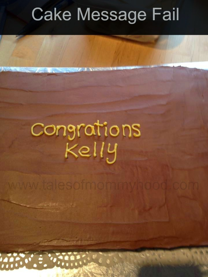 spelling mistake on cake, cake message fail, bridal shower cake, congratulations