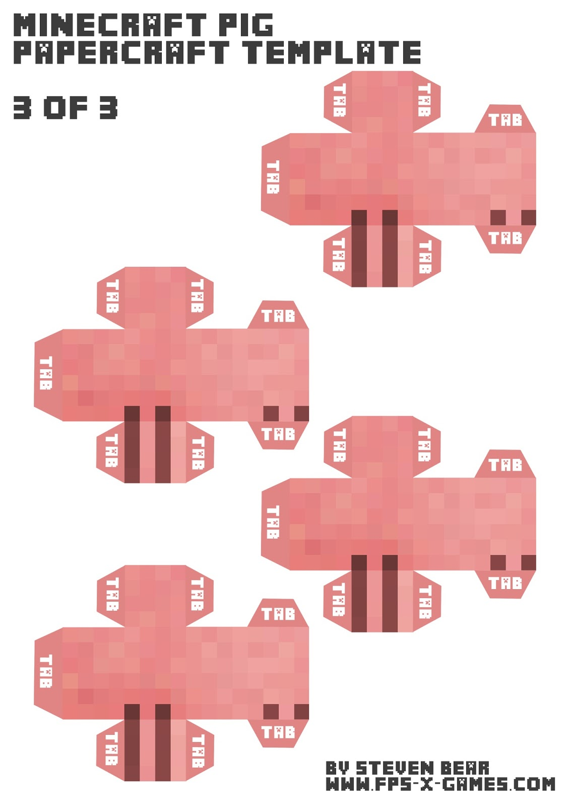 Minecraft Pig Papercraft Template Legs 3 Of