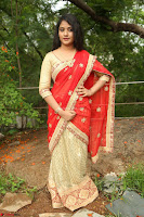 Akshara in Red Saree Golden Choli at LV Movie Makers Production No 1 Movie Opening ~  Exclusive 075.JPG