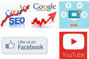 Các hình thức quảng cáo trực tuyến phổ biến youtube, google, facebook, email v.v....