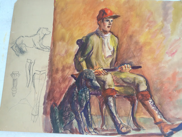 "young hunter with dog watercolor study ""Francis Quirk"""