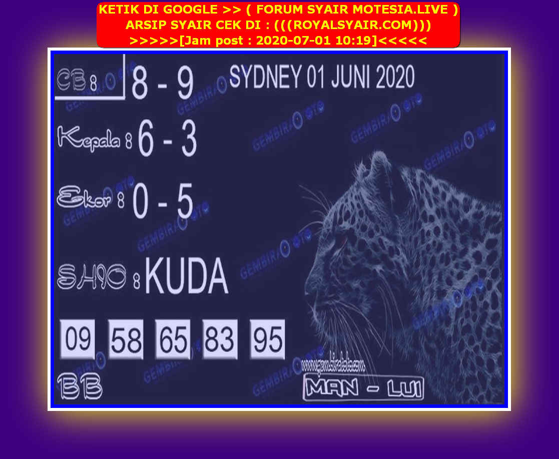 Kode syair Sydney Rabu 1 Juli 2020 160