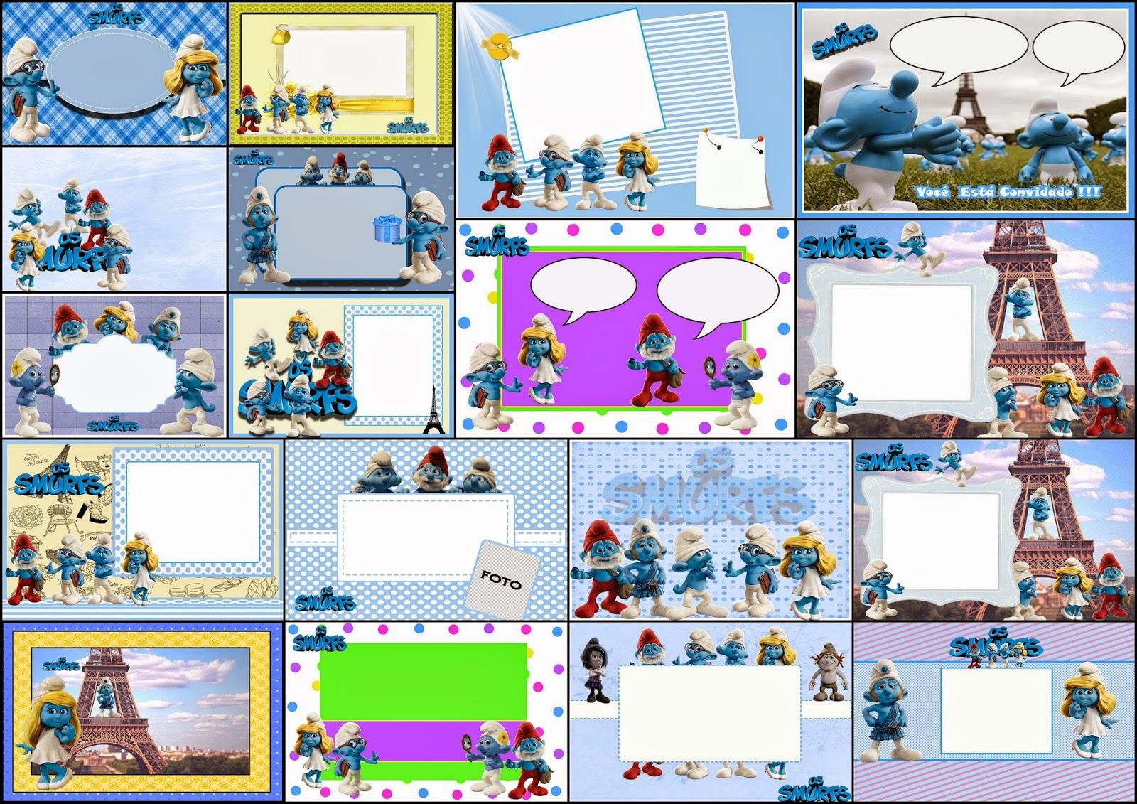 4689db5c9671 The Smurfs Free  Printable Invitations or Photo Frames.