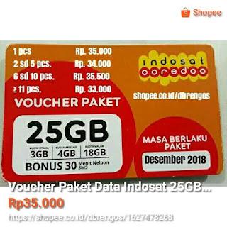 Voucher Paket data Indosat 25GB Terima Grosir