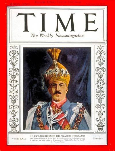 Nizam of the princely state Hyderabad on Time Magazine Cover Page
