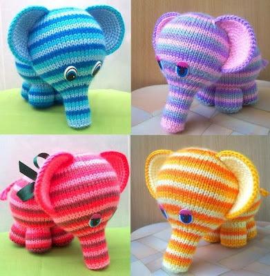 Радужные слоники вязаные игрушки спицами