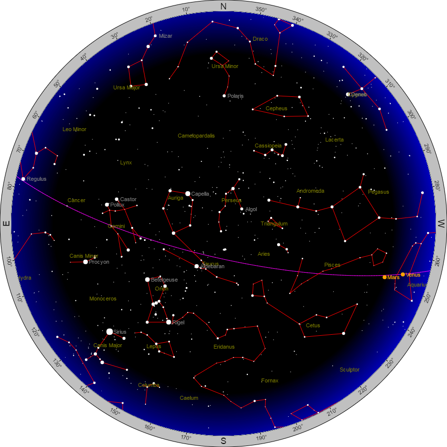 Sky chart for 8:30 pm  Courtesy Heavens Above