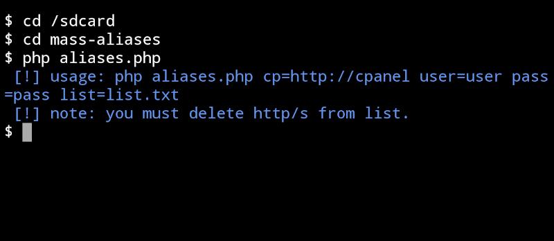Tools Mass  Aliases Domain Cpanel