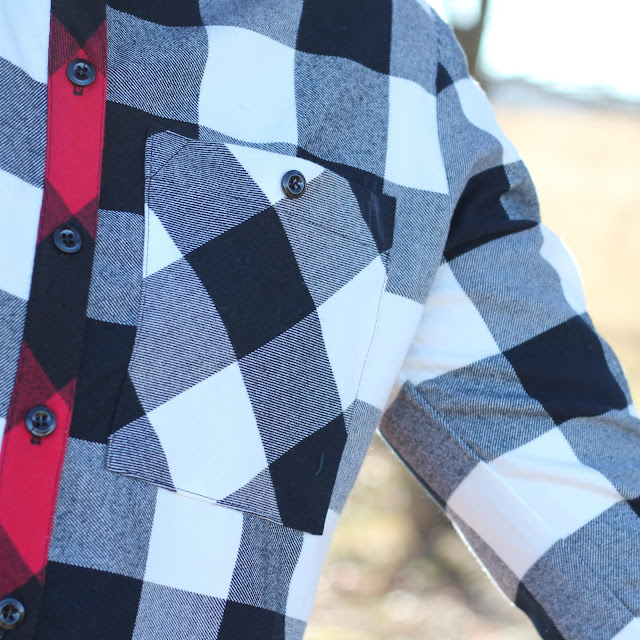 Grainline Archer Shirt from Mood Fabrics' Buffalo Check Flannel - pocket detail