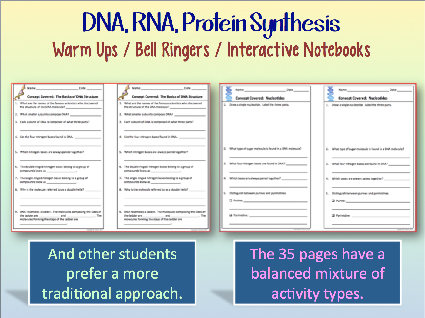 Amy Brown Science Dna And Rna And Protein Synthesis Warm