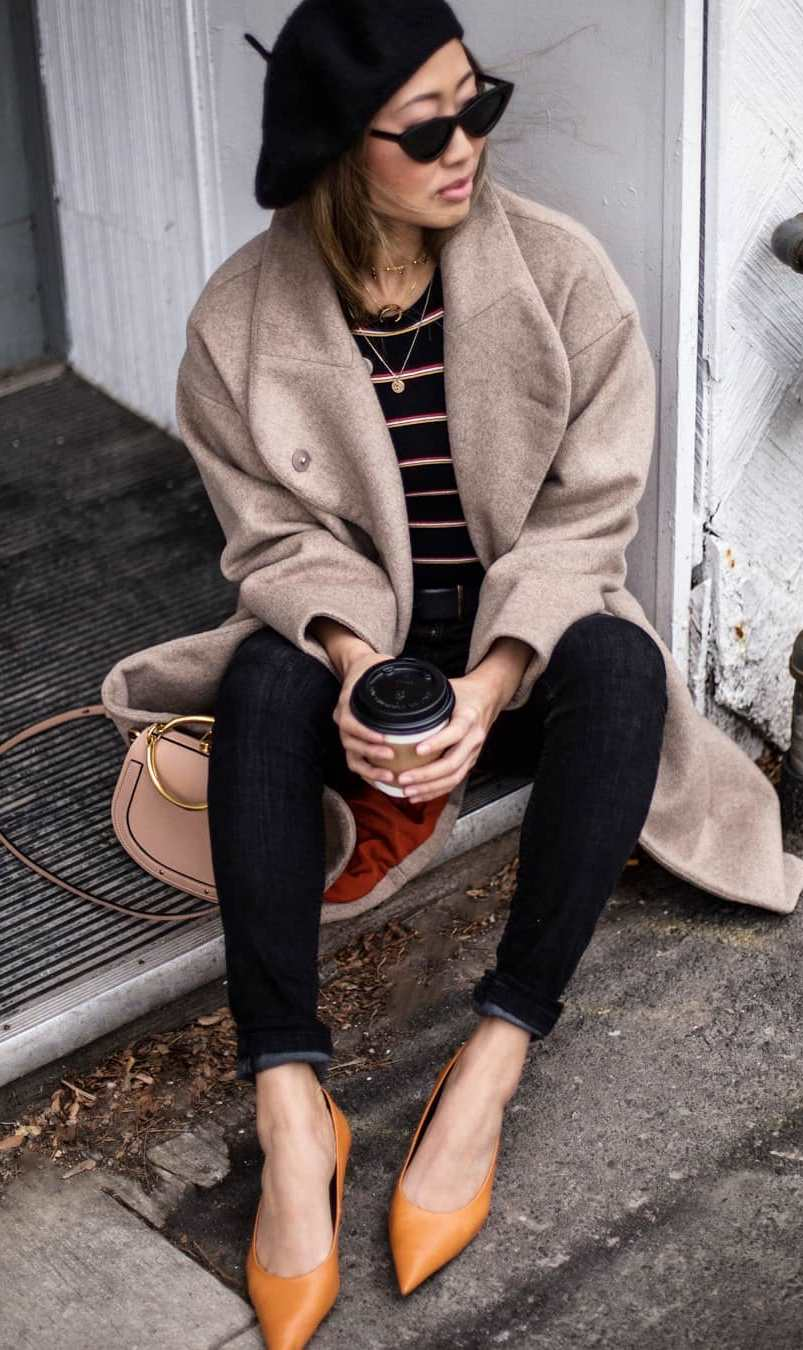 outfit of the day | heels + jeans + bag + hat + beige coat + striped top