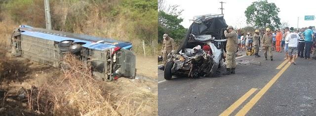 Colisão entre carro e ônibus na BR-116 em Milagres deixa saldo de dois mortos e vários feridos : Veja o vídeo