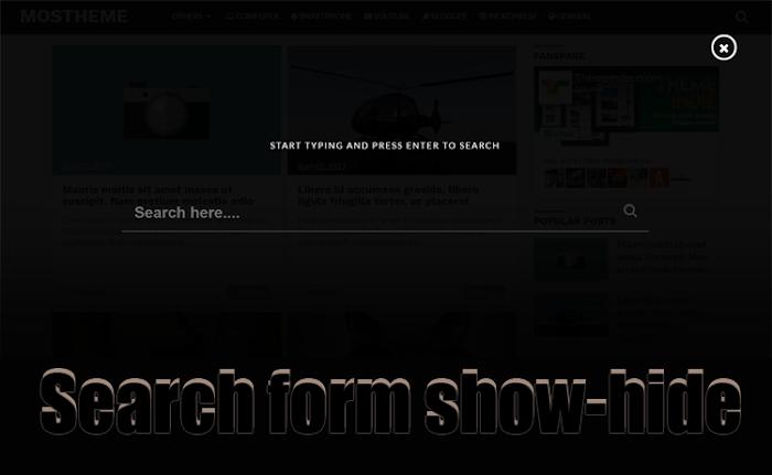 Search form show hide widget 2017