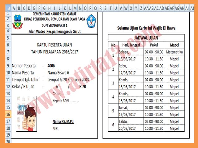 Aplikasi Cetak Kartu Peserta dan Jadwal Ujian Siswa Format Excel Siap Cetak