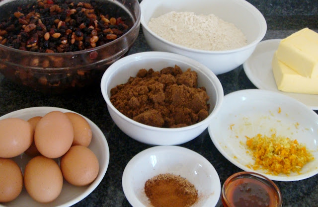 Ingredients for Delia Smith's Rich Fruit Cake