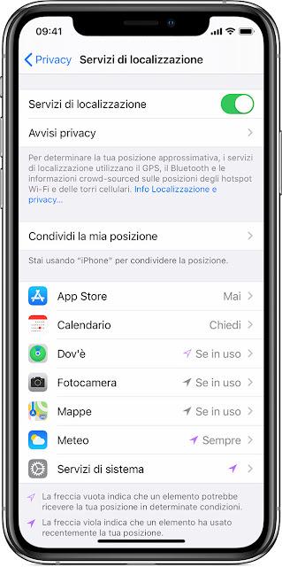 impostazioni app localizzazione iphone