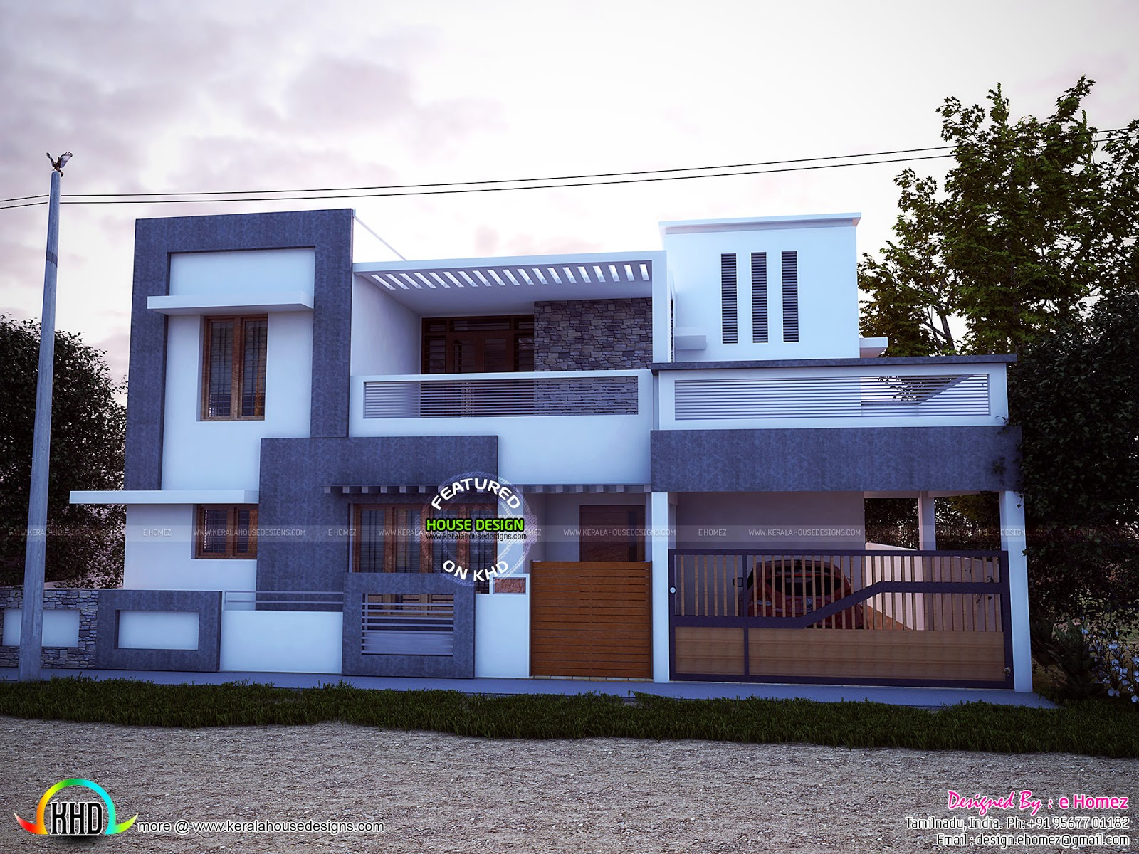 East facing simple modern home kerala home design and for Simple modern house models