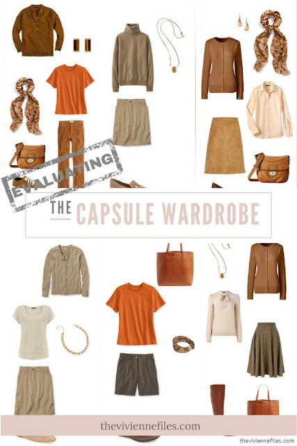 How to Evaluate a capsule wardrobe in a brown, beige, and orange color palette
