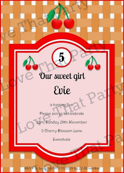 Cherry Party Birthday Invitation Ideas pink red