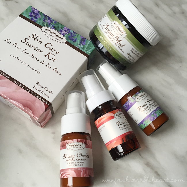 bbloggers, bbloggersca, canadian beauty bloggers, cocoon apothecary, skincare, skin care starter kit, ancient mud facial mask, petal purity facial cleanser, rosey cheeks facial cream, rose dew facial toner, product review, sensitive skin, plant-based, made in canada