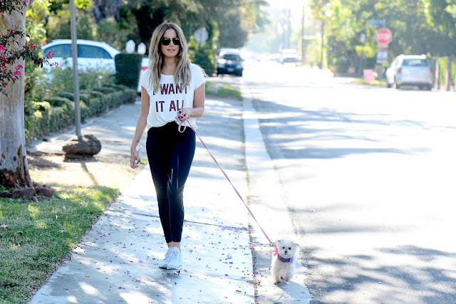 Ashley Tisdale Walks Her Dog Out In Los Angeles